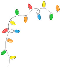Multicolored flat led Christmas lights garland isolated on white