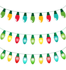 Multicolored led Christmas lights garlands in flat, gradient and