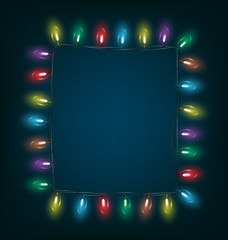 Multicolored glassy led Christmas lights garland like frame on b
