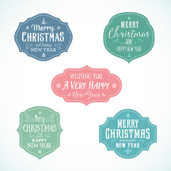 Vintage Typography Soft Color Christmas Vector Badges Set