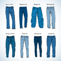 Denim Fit Hand Drawn Vector Set