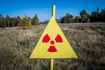 Radiation sign next to Red Forest - Chernobyl Zone of Alienation