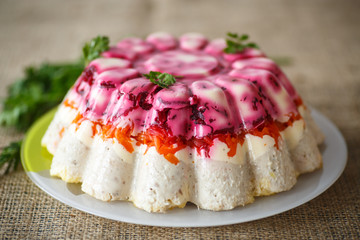 Traditional herring under boiled vegetables
