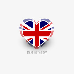 UK Flag Heart Shape Vector