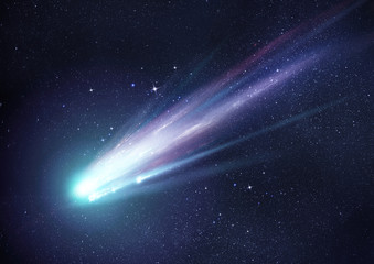 Super Bright Comet at Night