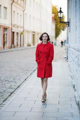 Woman walk by street in downtown area