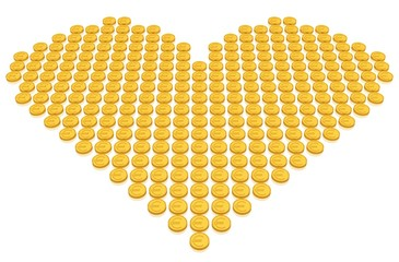Goldmünzen in Form eines Herzens