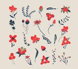 Hand drawn floral retro