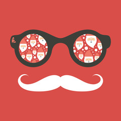 Hipster vintage sunglasses with Santa Claus.