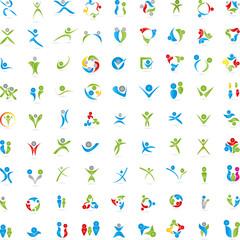 Menschen, Logos, Zeichen, Fitness, 3D
