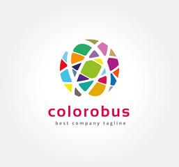 Abstract colored circles vector logo icon concept. Logotype