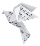 Origami pigeon with musical notes - 73044234