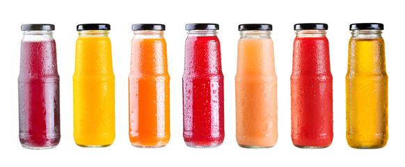 various bottles of juice isolated on white background