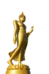 golden standing buddha image statue isolated on white.