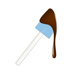 Silicone spatula with chocolate