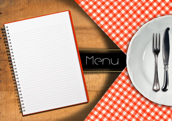 Menu with Notebook and White Plate