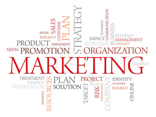 Word cloud illustration marketing SWOT analysis, Organization
