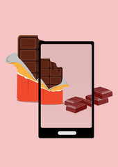 photo of bite chocolate and chocolate pieces with smartphone