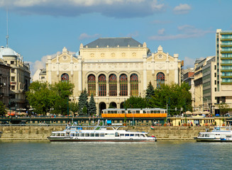 Budapest, Vigado Concert Hall on the Danube River embankment.