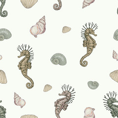 seashells and seahorse seamless pattern