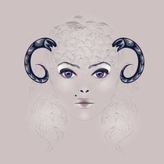 Sheep as Girl with Horns