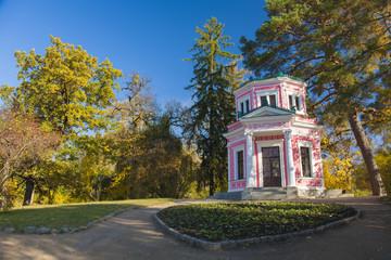 Ancient pavilion in old autumn park