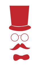 Cara de hombre con sombrero en rojo.