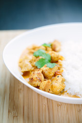 Spicy chicken curry with rice