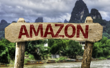 Amazon sign with a forest background