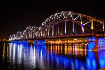 Railway bridge at night