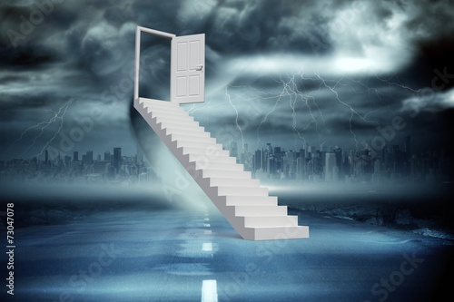Composite image of stairs leading to door - 73047078