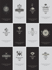 set of business cards on the theme of food and drinks