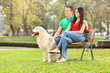 Young couple sitting in park with a dog