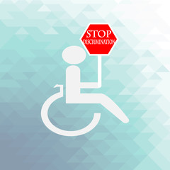 disabled discrimination illustration over blue color background