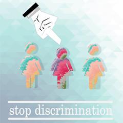 discriminated against women illustration over blue color backgro