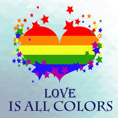 colorful heart with the flag of the LGBT movement