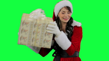 Santa helper girl giving the gift