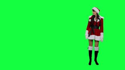 Santa helper girl indicates to something