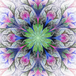 Beautiful fractal flower in gray, green and pink. Computer gener