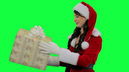 Santa helper girl receives a gift
