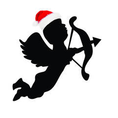 Picture of a Sillhouette Cupid Wearing a Santa Hat