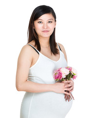 Pregnant woman hold with flower