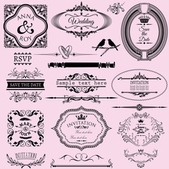 Collection of wedding calligraphic frames and elements.