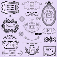 Collection of vector menu calligraphic frames and elements.