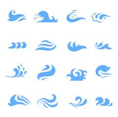 illustration  set of wave symbol on isolated white background