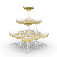 Stack of champagne glasses with clipping path