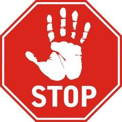 """Знак """"Stop"""" с отпечатком руки"""