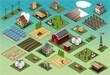 Isometric Farm Set Tiles city map Vector - 73051415