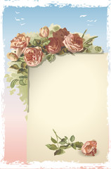 Vintage Roses Ornament on Old Page