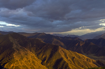 Altai mountains lit by the setting sun.
